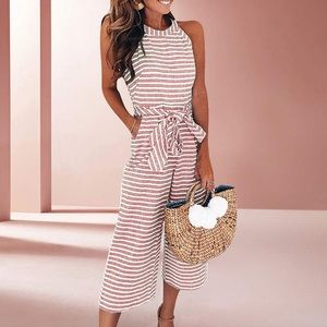 Pants - Women's Red & White Striped Sleeveless Jumpsuit